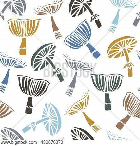 Vector Seamless Colorful Pattern With Lined Mushrooms Or Fungi In Pastel Tones