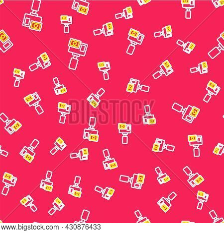Line Action Extreme Camera Icon Isolated Seamless Pattern On Red Background. Video Camera Equipment