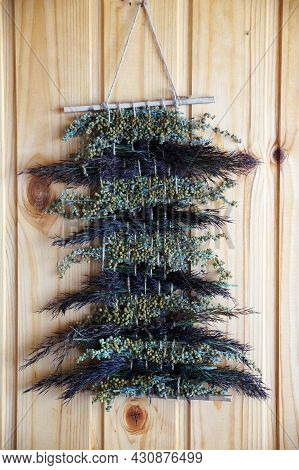 Panels Of Dried Medicinal Herbs For Aromatherapy And Home Decor