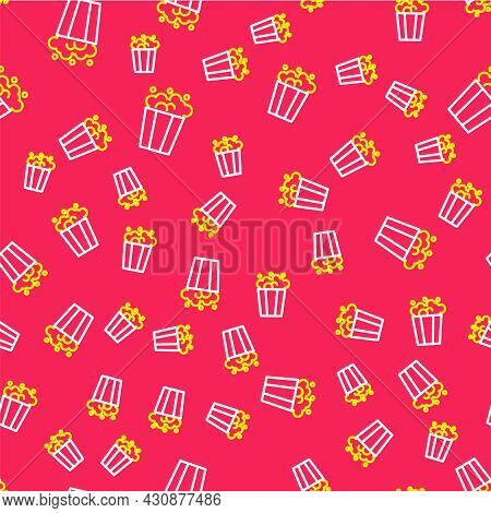 Line Popcorn In Cardboard Box Icon Isolated Seamless Pattern On Red Background. Popcorn Bucket Box.
