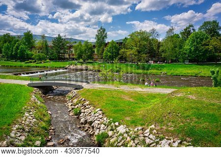 Scenery of the Vistula river in Ustron on the hills of the Silesian Beskids. Poland