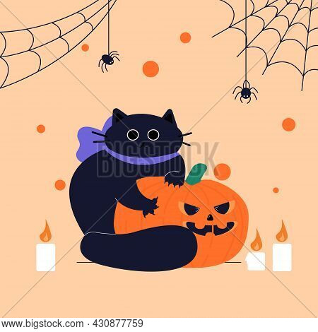 Happy Halloween. A Fat Cute Black Cat Clutched At The Pumpkin With Its Claws. Cartoon Character Of A