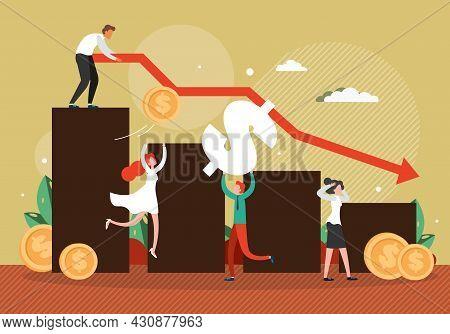 Falling Down Arrow Chart, Businessman Bankrupt, Employees, Flat Vector Illustration. Business Failur
