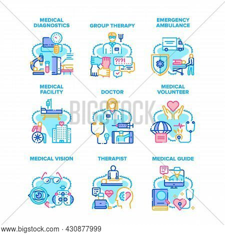 Medical Therapy Set Icons Vector Illustrations. Medical Therapy And Diagnostics, Doctor Therapist An