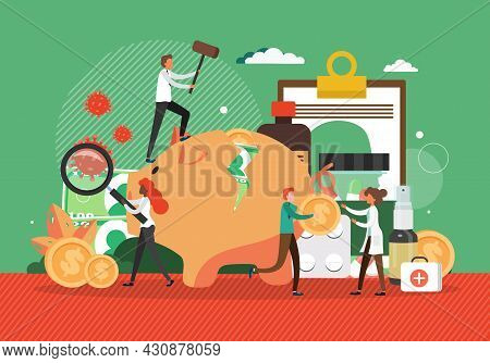 Medication Costs Going Up. People Spending Money Savings On Expensive Drugs, Flat Vector Illustratio