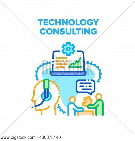 Technology Consulting Vector Icon Concept. Technology Consulting Worker Advising Customer Online, Su