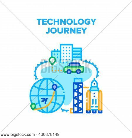 Technology Journey Vector Icon Concept. Gps Navigation System For Car Driver Search Way, Rocket Spac