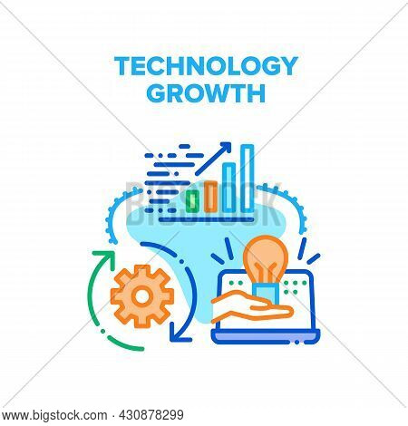 Technology Growth Vector Icon Concept. Technology Growth Infographic And Innovative Idea For Develop
