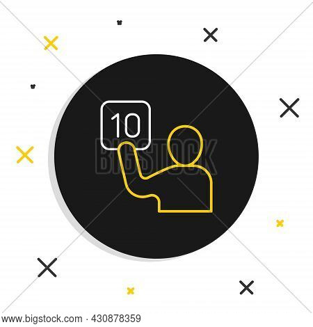 Line Assessment Of Judges Icon Isolated On White Background. Colorful Outline Concept. Vector