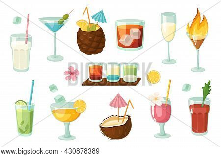 Alcoholic And Non-alcoholic Cocktails Design Elements Set. Collection Of Milkshake, Martini, Mojito,