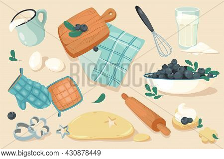 Kitchen Tools For Bakery Design Elements Set. Collection Of Egg, Milk, Cutting Board, Whisk, Napkin,