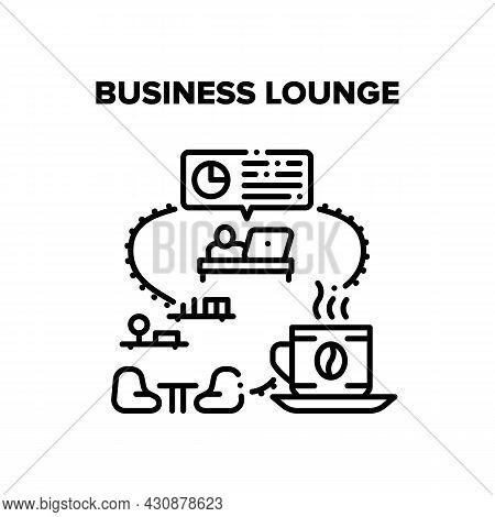 Business Lounge Vector Icon Concept. Business Lounge Zone For Drinking Hot Energy Drink Coffee Break