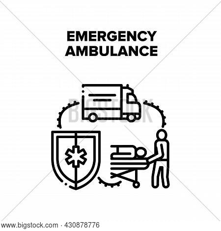 Emergency Ambulance Vector Icon Concept. Emergency Ambulance Paramedic Team Moving Patient On Stretc