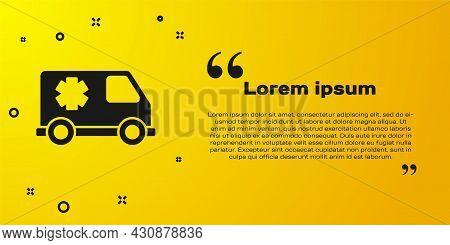 Black Ambulance And Emergency Car Icon Isolated On Yellow Background. Ambulance Vehicle Medical Evac
