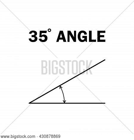 35 Degree Angle. Geometric Mathematical Angle With Arrow Vector Icon Isolated On White Background. E