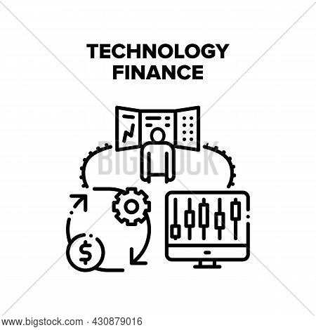 Technology Finance Vector Icon Concept. Digital Technology Finance Market Monitoring And Trade Finan