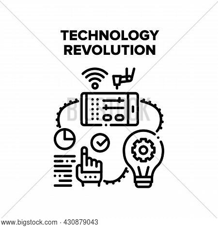 Technology Revolution Vector Icon Concept. Online Setting Digital Machine With Smartphone Applicatio