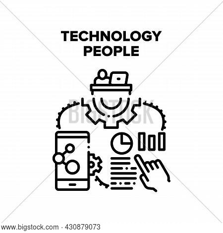 Technology People Vector Icon Concept. Technology People Using For Working At Workplace And Communic