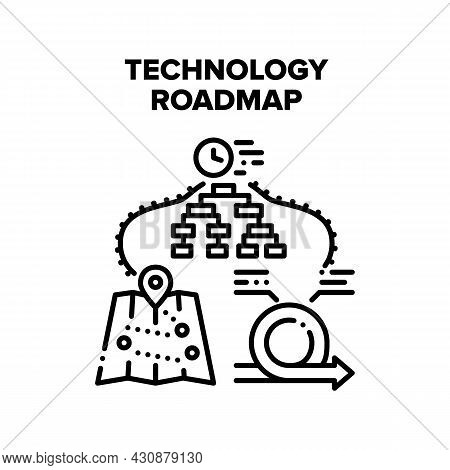 Technology Roadmap Vector Icon Concept. Technology Roadmap For Showing Driver Way Direction, Digital