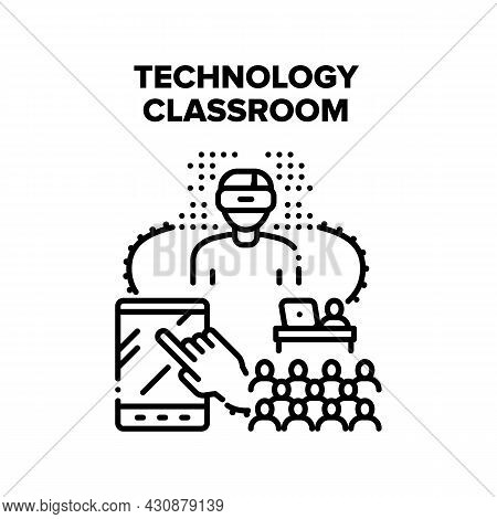 Technology Classroom Vector Icon Concept. Technology Classroom For Studying School Or University Sub