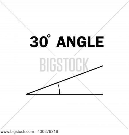 30 Degree Angle. Geometric Mathematical Angle With Arrow Vector Icon Isolated On White Background. E