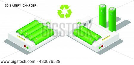 Isometric Charger With Batteries Inside. Reusable Rechargeable Batteries For Portable Devices. Reali