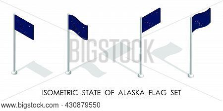 Isometric Flag Of American State Of Alaska In Static Position And In Motion On Flagpole. 3d Vector