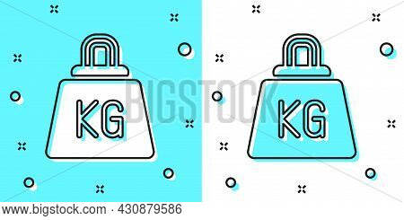 Black Line Weight Icon Isolated On Green And White Background. Kilogram Weight Block For Weight Lift