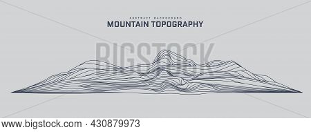 Mountain Topography Abstract Background. 3d Futuristic Wireframe Landscape In Line Art Stile. Silhou