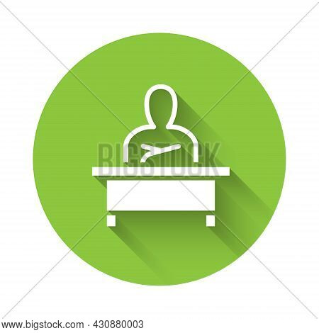 White Schoolboy Sitting At Desk Icon Isolated With Long Shadow. Green Circle Button. Vector