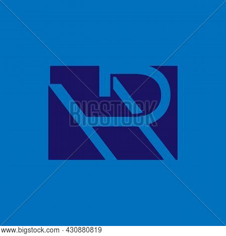 Nu H And R Logo Blended With Blue Colors Graphic Concept Illustrations