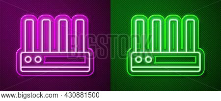Glowing Neon Line Router And Wi-fi Signal Icon Isolated On Purple And Green Background. Wireless Eth