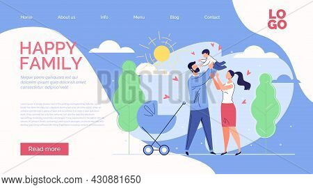 Happy Family. Mom, Dad, Lift Your Little Son Into Sky To Sun. Joyous Childhood, Healthcare, Adoption