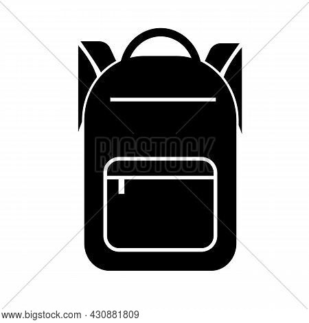 Backpack Icon On White Background. School Bag Sign. Schoolbag Symbol. Flat Style.