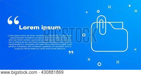 White Line Document Folder With Paper Clip Icon Isolated On Blue Background. Accounting Binder Symbo
