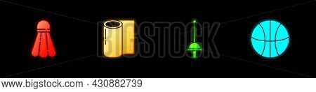 Set Badminton Shuttlecock, Fitness Mat Roll, Fencing And Basketball Ball Icon. Vector