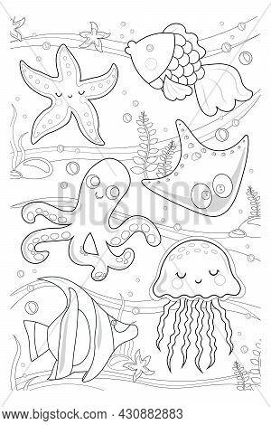 Underwater World With Fish, Algae, Squid, Octopus, Starfish, Jellyfish. For Kids. Vector Coloring Bo