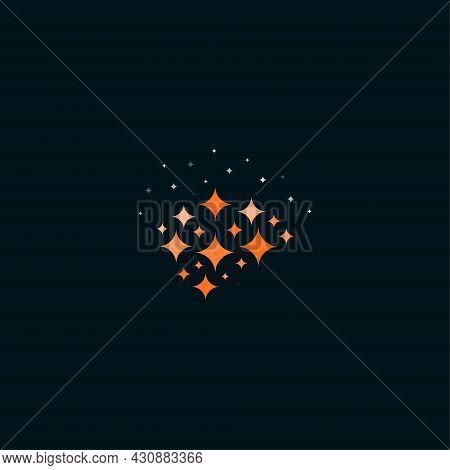 Smart Brain Logo Concept, Abstract Brain Symbol With Sparkles, Creativity Think Process Symbols, Min