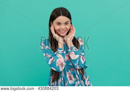 Beautiful Inside And Out. Teenage Girl Hold Hands Near Face Blue Background. Teenage Skincare