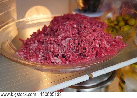 Ground Beef, Freshly Ground In The Refrigerator,