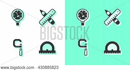 Set Protractor, Pressure Water Meter, Micrometer And Crossed Ruler And Pencil Icon. Vector