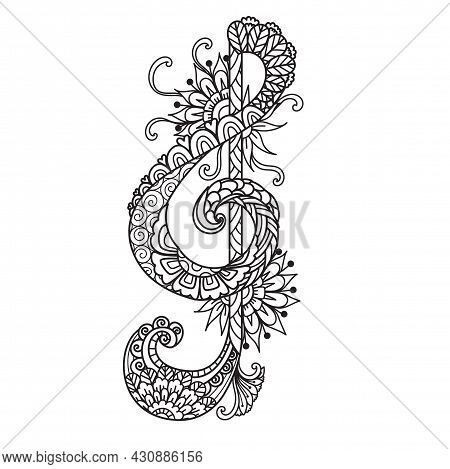 Mandala Treble Music Note For Coloring Book,coloring Page, Laser Cutting,engraving, Printing On Prod