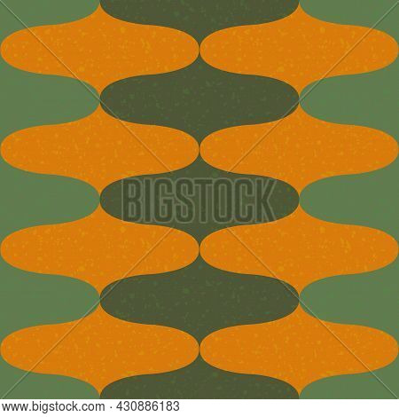 Ogee Abstract Vector Seamless Pattern Background With Retro Onion Shapes. Elegant Geometric Backdrop