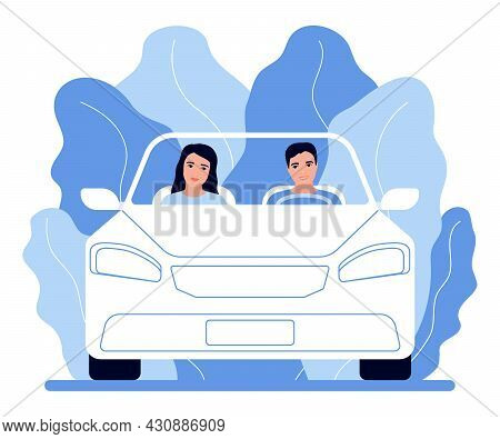 People Couple Travel By Car, Road Trip To Nature. Family Man And Woman Are Driving Along The Road. R