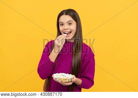 Happy Easter Teen Girl Eat Quail Painted Eggs, Happy Easter