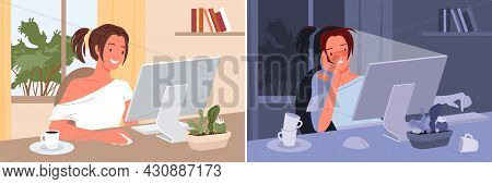 Freelance Girl Working Day And Night At Home, Busy Freelancer Sitting At Computer