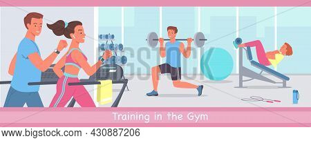 People Doing Sports Workout In Gym, Young Sportive Woman Man Characters Run On Treadmill Machine, Bo