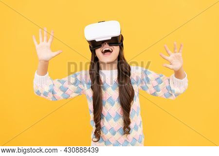 Happy Teen Girl Wear Vr Glasses Using Future Technology For Education In Virtual Reality, Innovation