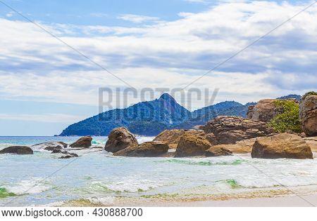 Rocks Waves Praia Lopes Mendes Beach Ilha Grande Island Brazil.