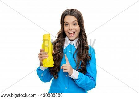I Just Need To Hydrate. Happy Kid Hold Water Bottle With Raised Finger. Dont Wait, Hydrate